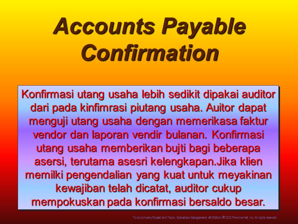 Accounts Payable Confirmation