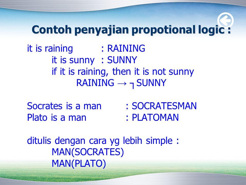 Contoh penyajian propotional logic :