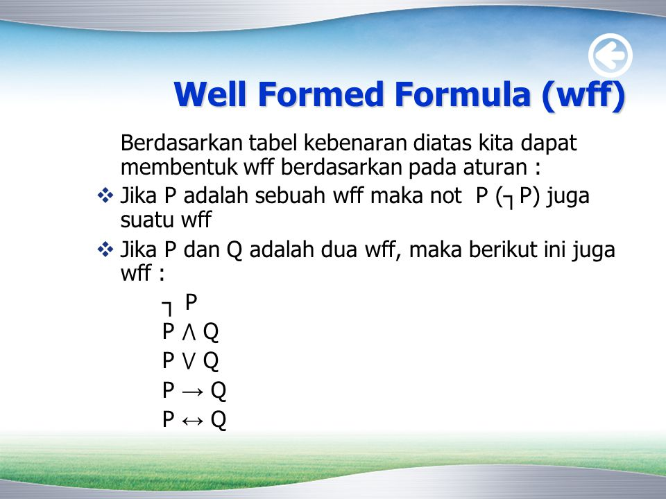 Well Formed Formula (wff)