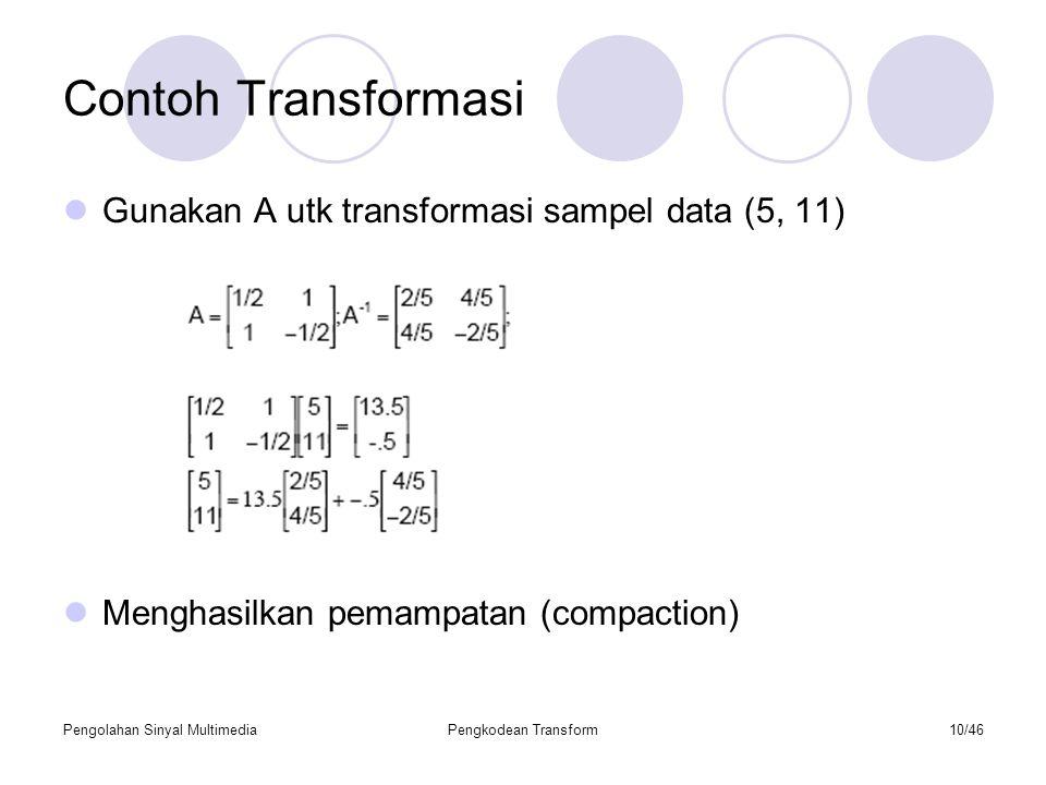 Contoh Transformasi Gunakan A utk transformasi sampel data (5, 11)