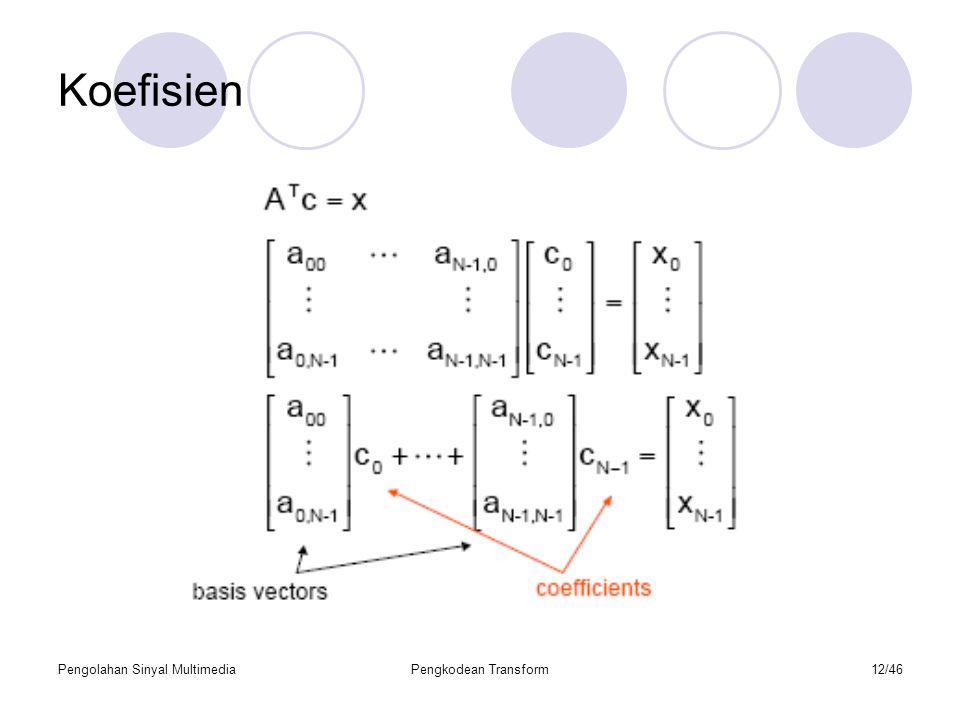 Koefisien Pengolahan Sinyal Multimedia Pengkodean Transform