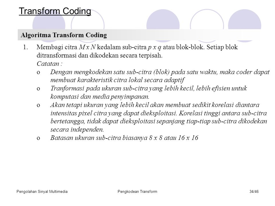 Transform Coding Algoritma Transform Coding