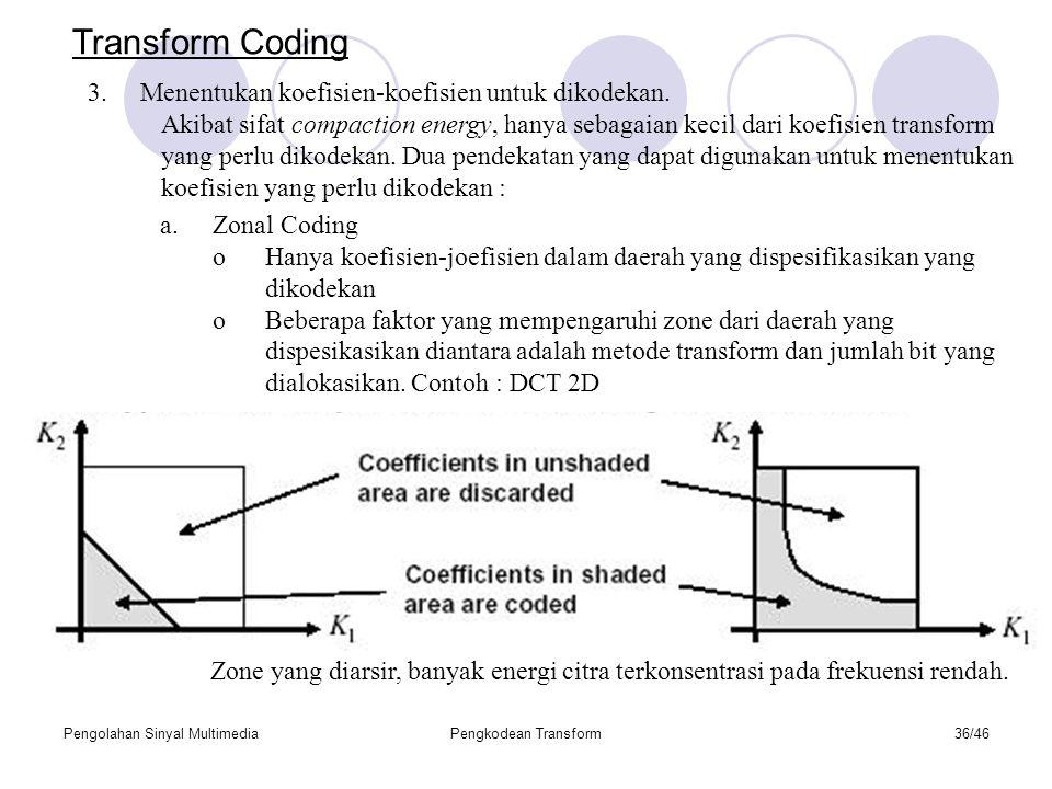Transform Coding Menentukan koefisien-koefisien untuk dikodekan.