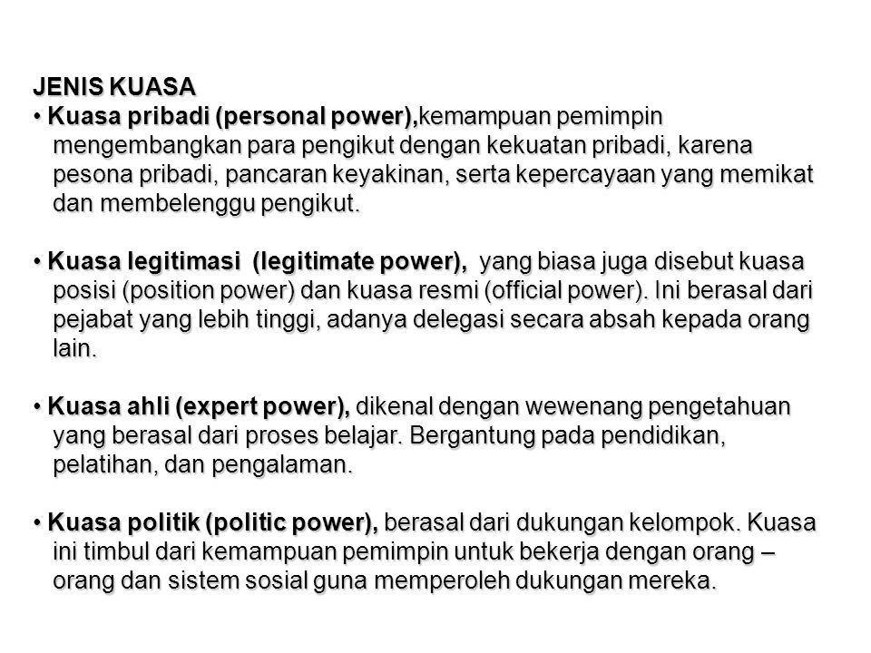 JENIS KUASA Kuasa pribadi (personal power),kemampuan pemimpin. mengembangkan para pengikut dengan kekuatan pribadi, karena.