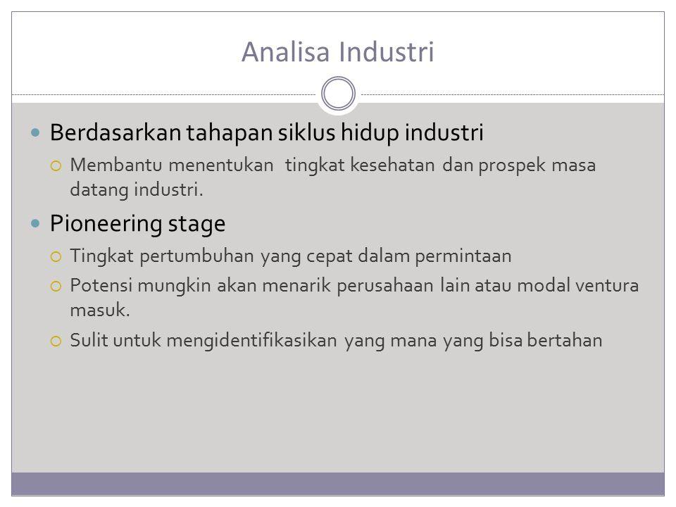 Analisa Industri Berdasarkan tahapan siklus hidup industri