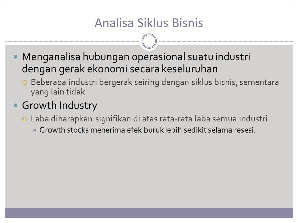Analisa Siklus Bisnis Menganalisa hubungan operasional suatu industri dengan gerak ekonomi secara keseluruhan.