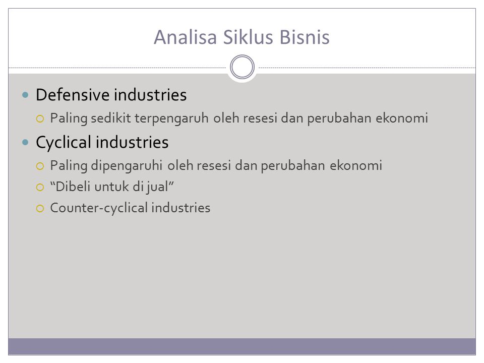 Analisa Siklus Bisnis Defensive industries Cyclical industries