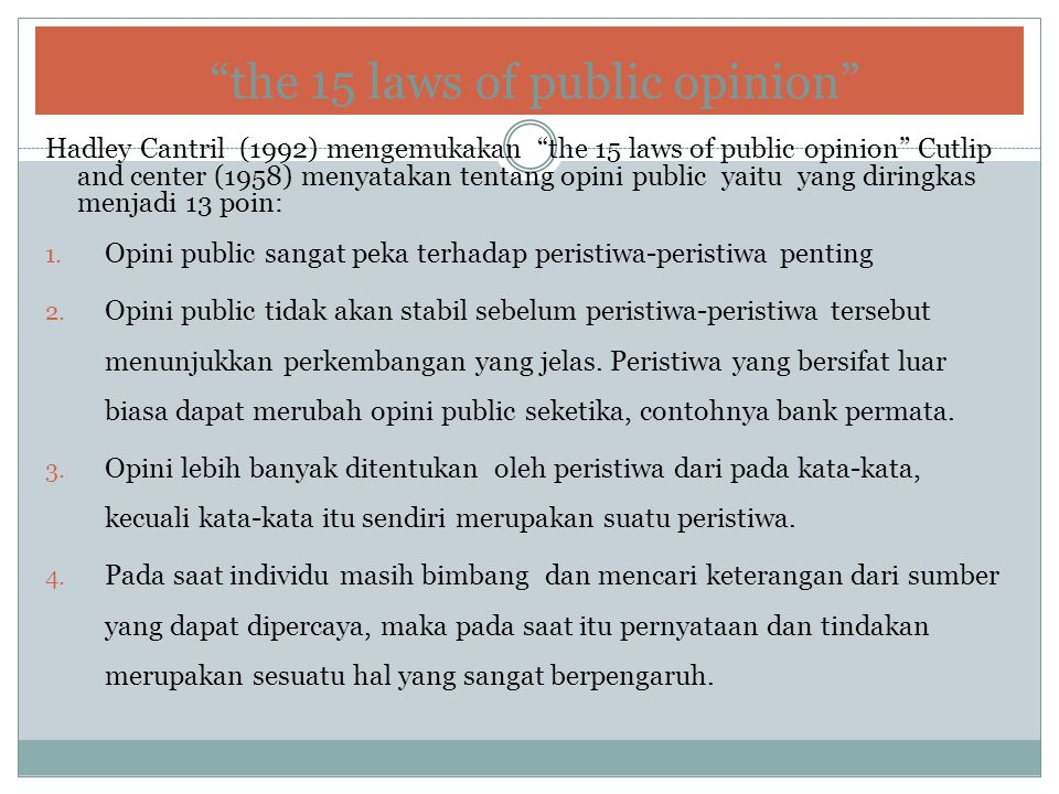 the 15 laws of public opinion