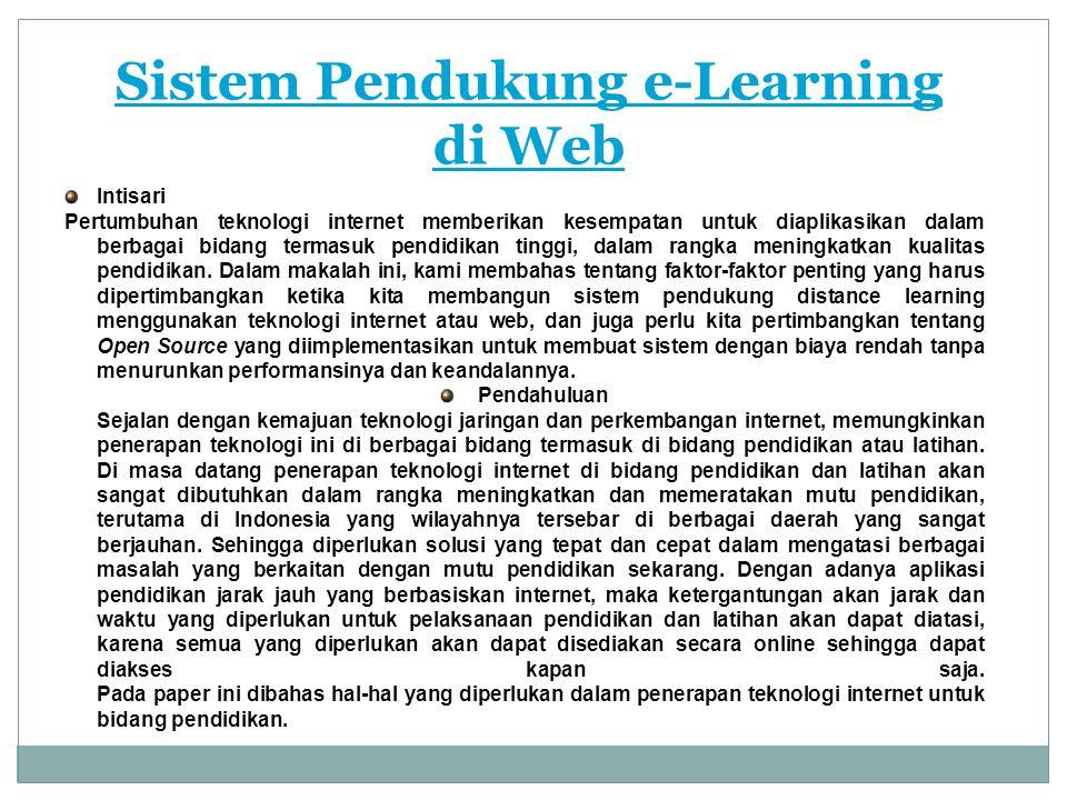 Sistem Pendukung e-Learning di Web