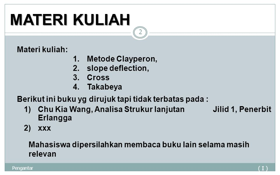 MATERI KULIAH Materi kuliah: Metode Clayperon, slope deflection, Cross