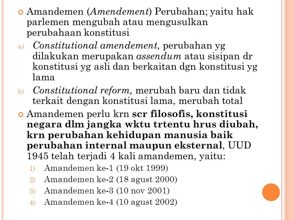 Amandemen (Amendement) Perubahan; yaitu hak parlemen mengubah atau mengusulkan perubahaan konstitusi