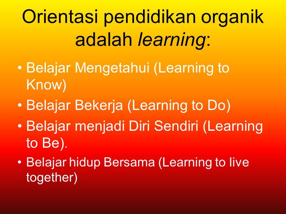 Orientasi pendidikan organik adalah learning: