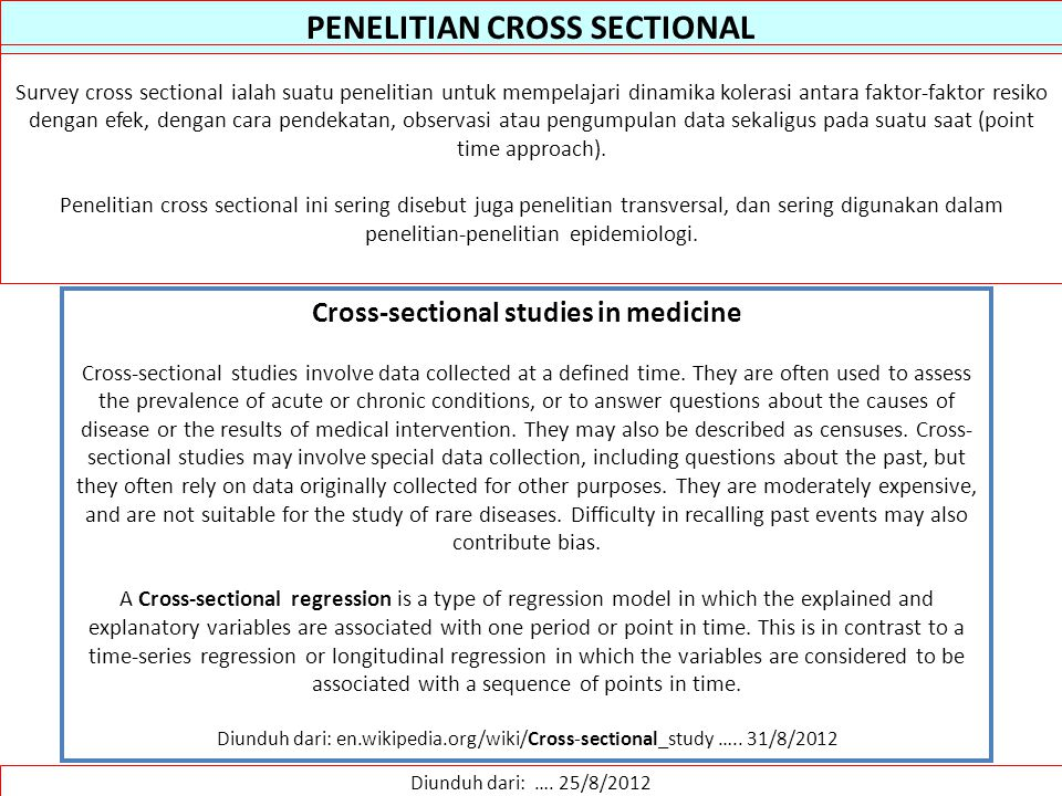 PENELITIAN CROSS SECTIONAL Cross-sectional studies in medicine