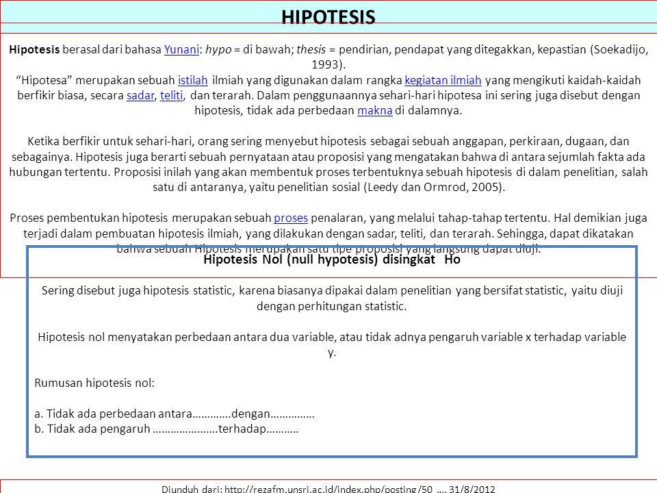 Hipotesis Nol (null hypotesis) disingkat Ho