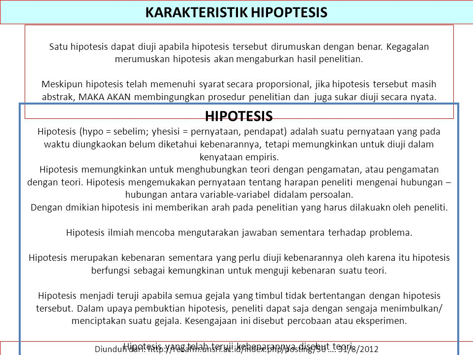 KARAKTERISTIK HIPOPTESIS