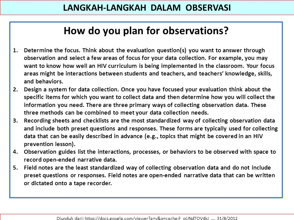 LANGKAH-LANGKAH DALAM OBSERVASI How do you plan for observations
