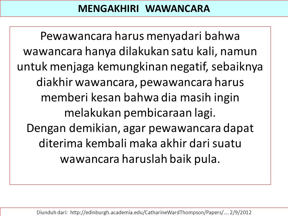 MENGAKHIRI WAWANCARA