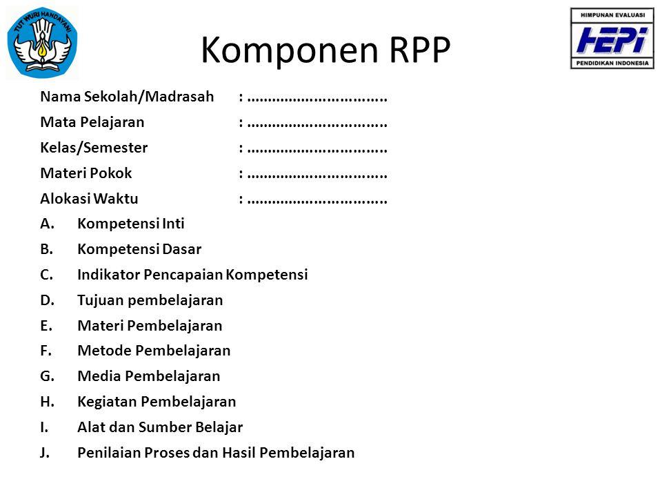 Komponen RPP Nama Sekolah/Madrasah : .................................