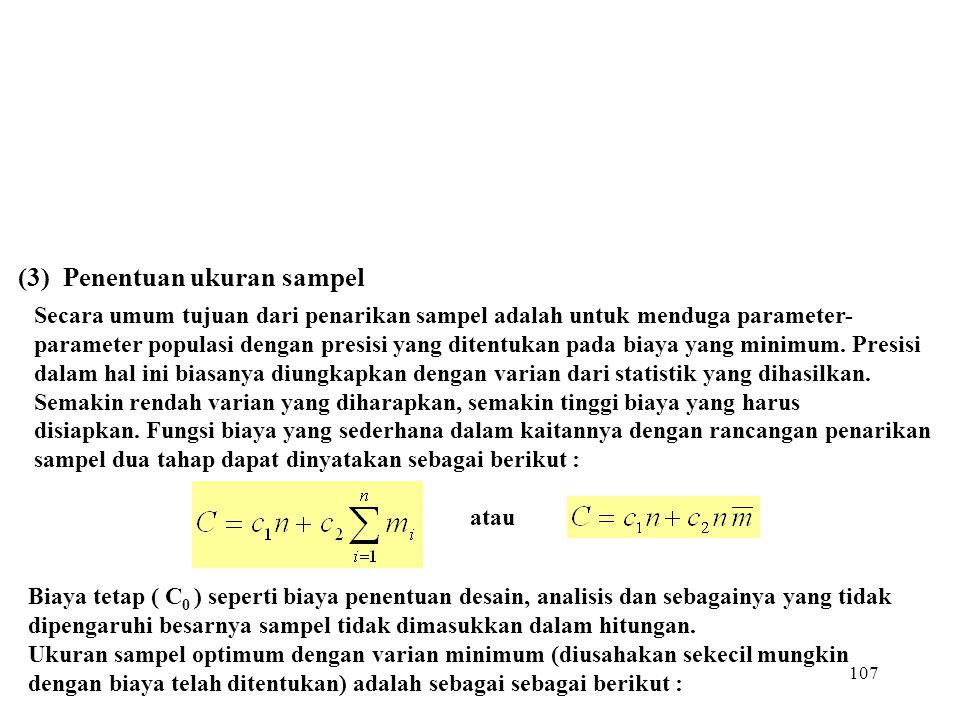 (3) Penentuan ukuran sampel