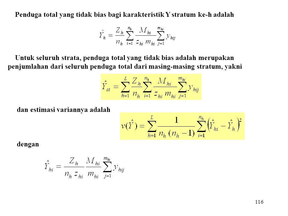 Penduga total yang tidak bias bagi karakteristik Y stratum ke-h adalah
