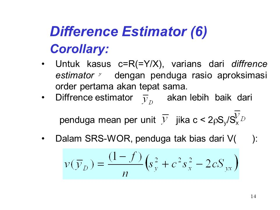 Difference Estimator (6)