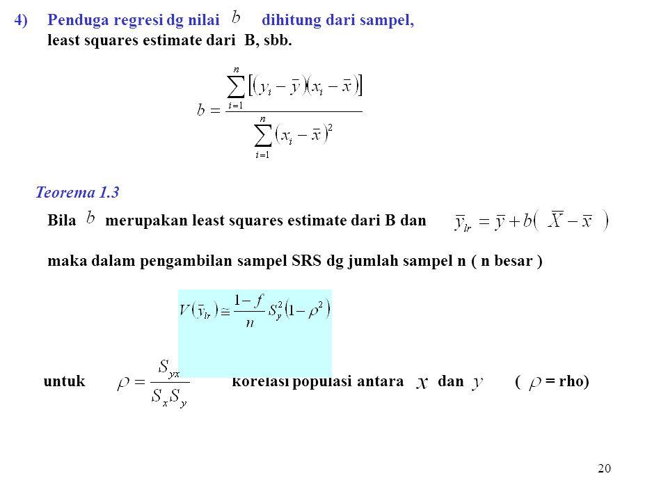 4) Penduga regresi dg nilai dihitung dari sampel,