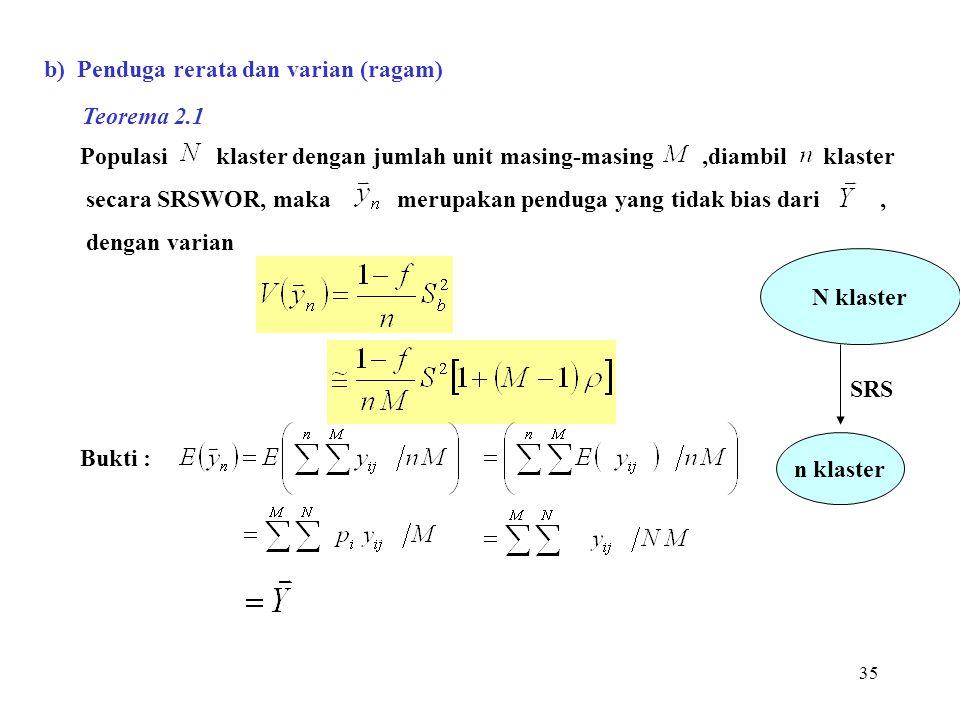 b) Penduga rerata dan varian (ragam)