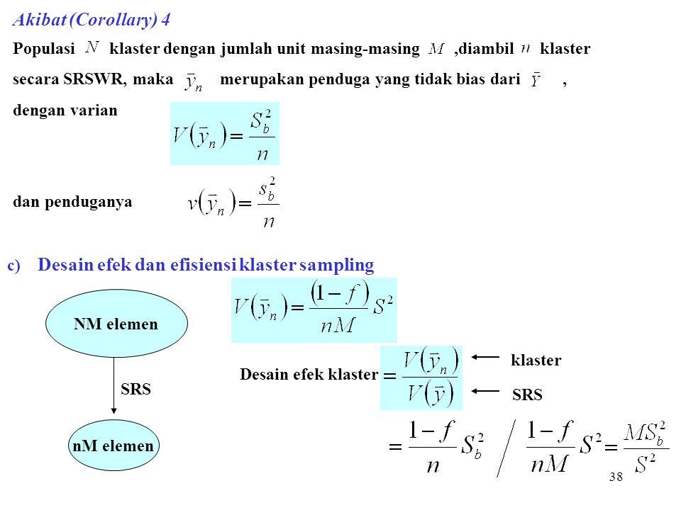 Akibat (Corollary) 4 Populasi klaster dengan jumlah unit masing-masing ,diambil klaster.