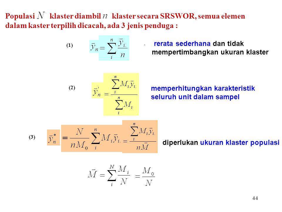 Populasi klaster diambil klaster secara SRSWOR, semua elemen dalam kaster terpilih dicacah, ada 3 jenis penduga :