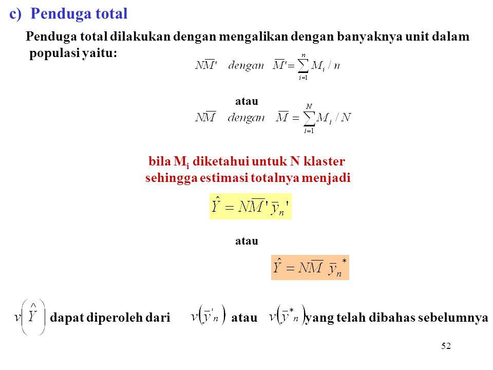 c) Penduga total populasi yaitu: bila Mi diketahui untuk N klaster