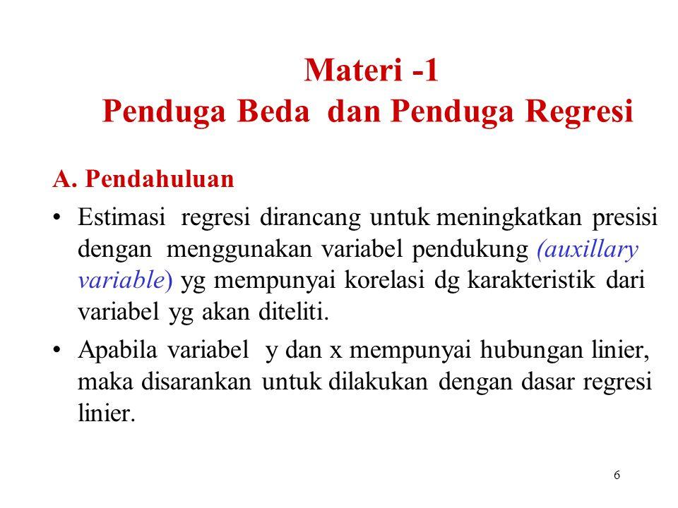 Materi -1 Penduga Beda dan Penduga Regresi