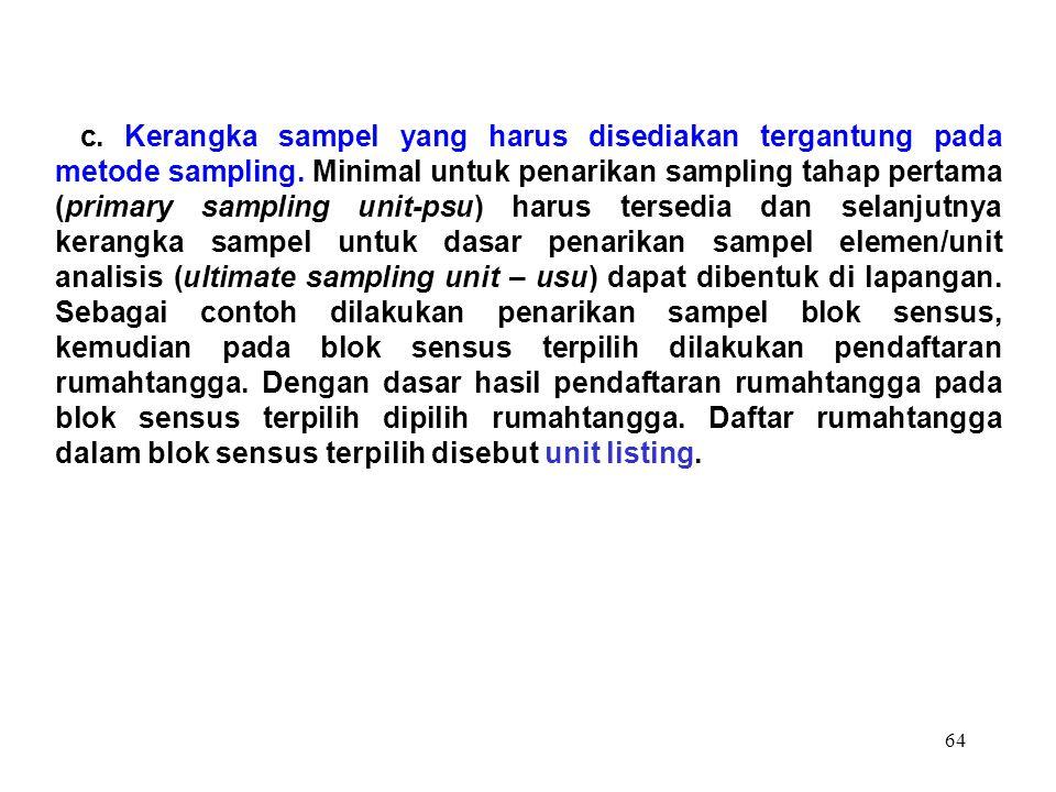 c. Kerangka sampel yang harus disediakan tergantung pada metode sampling.