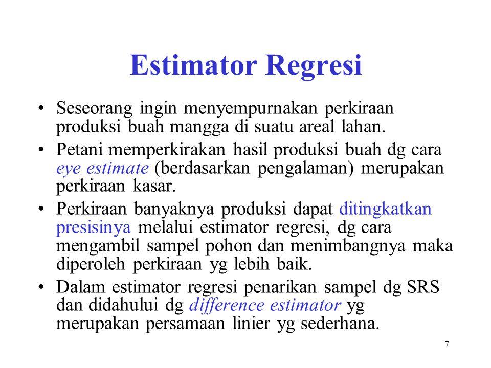 Estimator Regresi Seseorang ingin menyempurnakan perkiraan produksi buah mangga di suatu areal lahan.