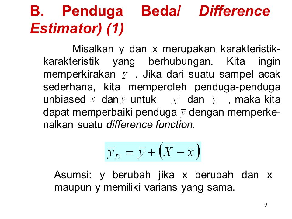 B. Penduga Beda/ Difference Estimator) (1)