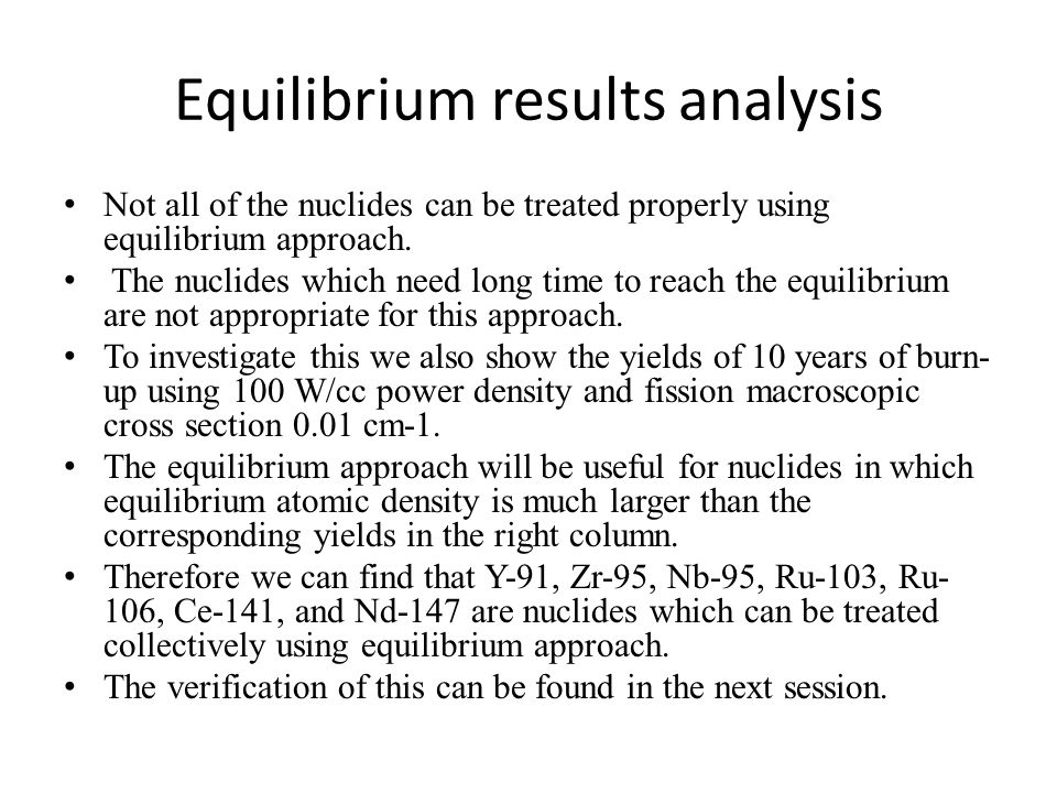 Equilibrium results analysis
