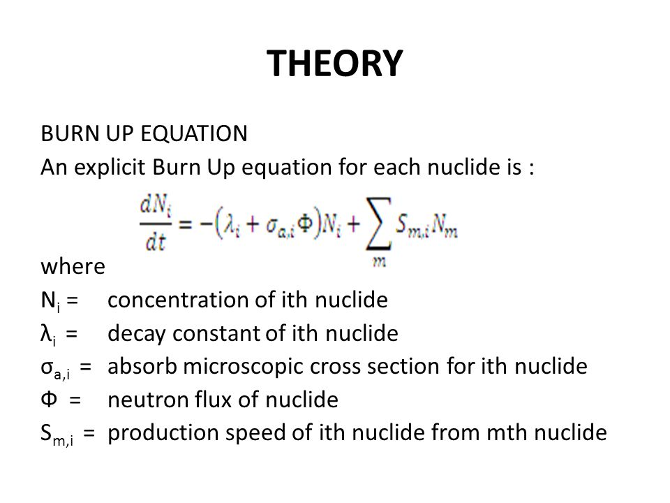 THEORY BURN UP EQUATION