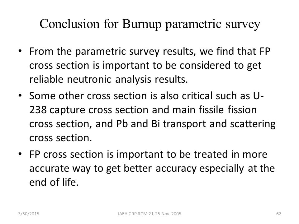 Conclusion for Burnup parametric survey