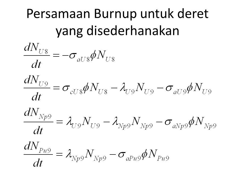 Persamaan Burnup untuk deret yang disederhanakan