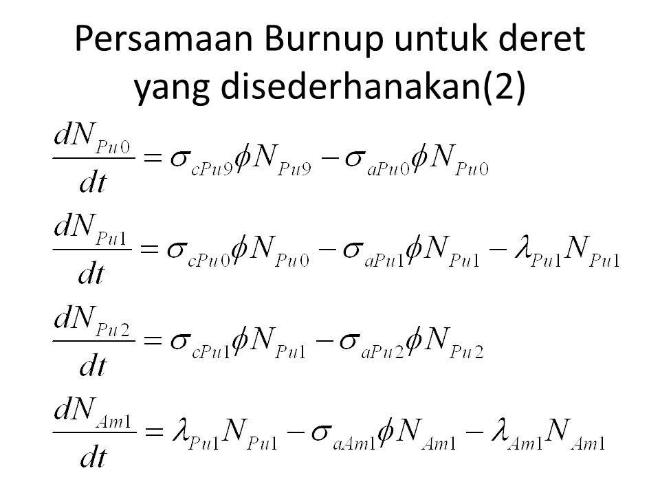 Persamaan Burnup untuk deret yang disederhanakan(2)