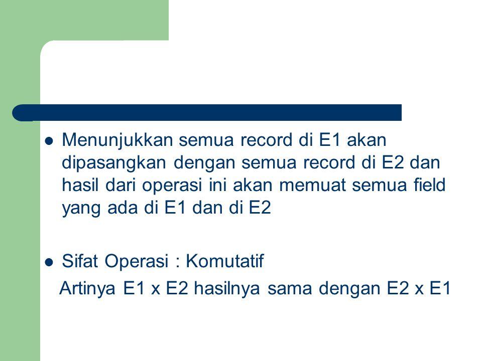 Menunjukkan semua record di E1 akan dipasangkan dengan semua record di E2 dan hasil dari operasi ini akan memuat semua field yang ada di E1 dan di E2
