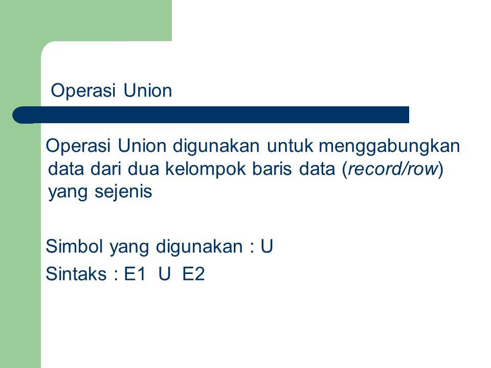 Operasi Union Operasi Union digunakan untuk menggabungkan data dari dua kelompok baris data (record/row) yang sejenis.