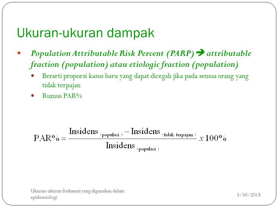 Ukuran-ukuran dampak Population Attributable Risk Percent (PARP) attributable fraction (population) atau etiologic fraction (population)