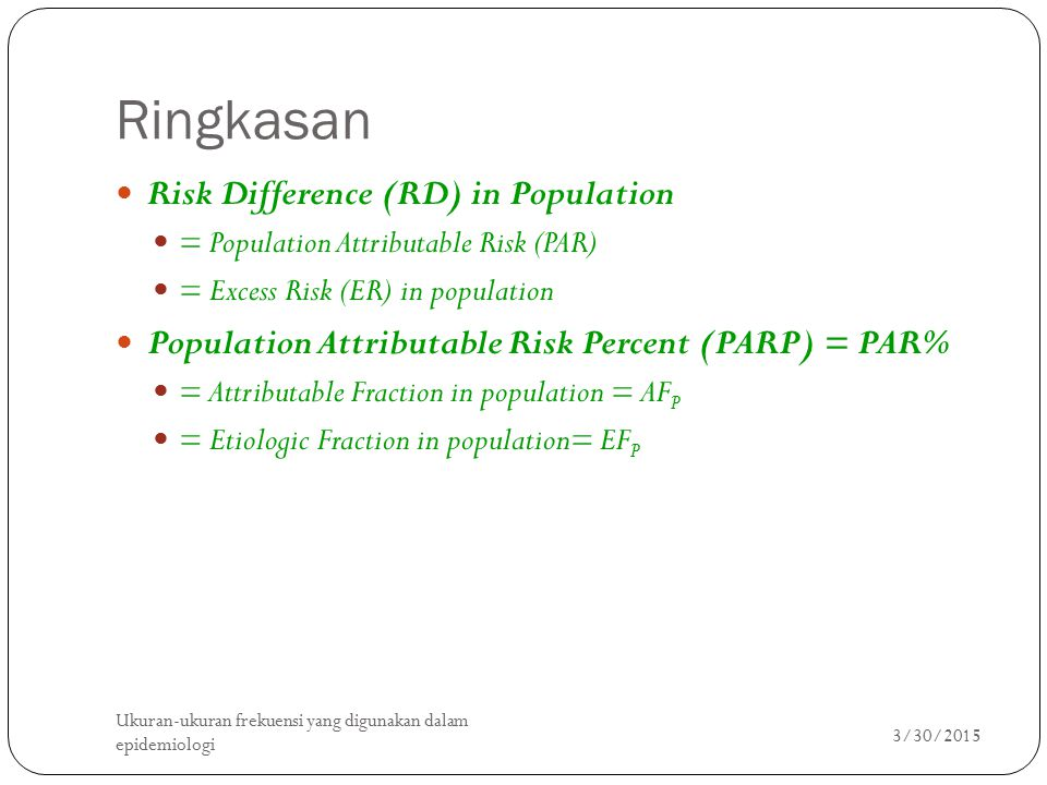 Ringkasan Risk Difference (RD) in Population
