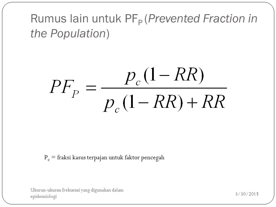 Rumus lain untuk PFP (Prevented Fraction in the Population)