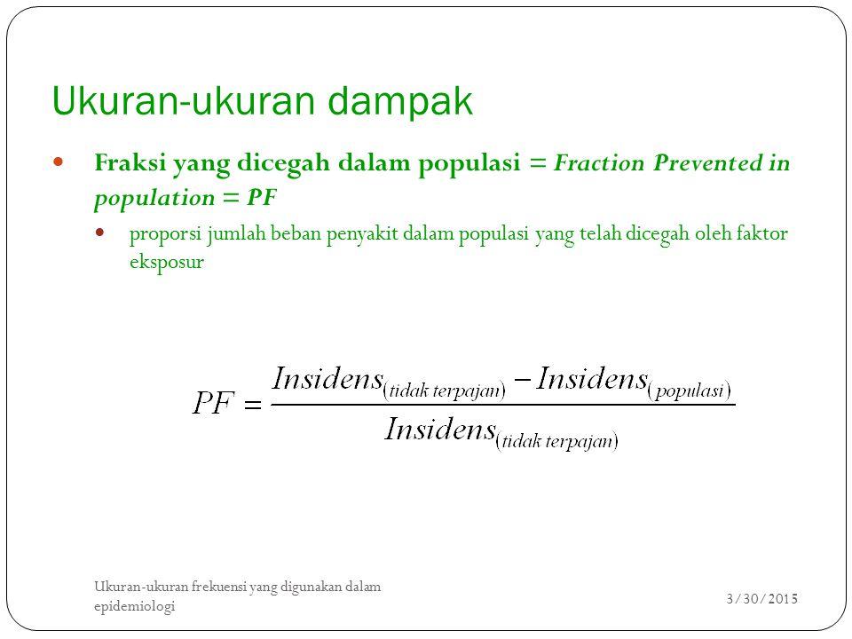 Ukuran-ukuran dampak Fraksi yang dicegah dalam populasi = Fraction Prevented in population = PF.