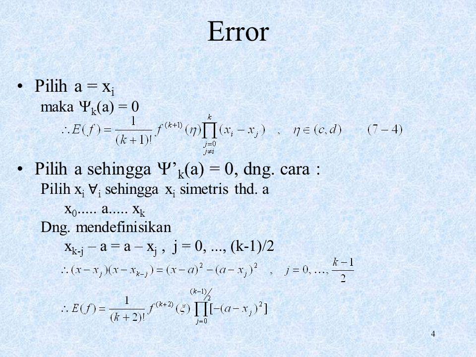 Error Pilih a = xi Pilih a sehingga 'k(a) = 0, dng. cara :