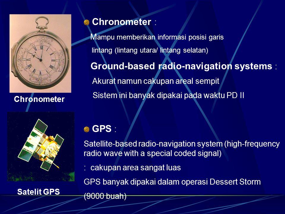 Chronometer : GPS : Mampu memberikan informasi posisi garis