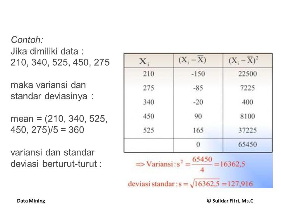 Contoh: Jika dimiliki data : 210, 340, 525, 450, 275. maka variansi dan standar deviasinya : mean = (210, 340, 525, 450, 275)/5 = 360.