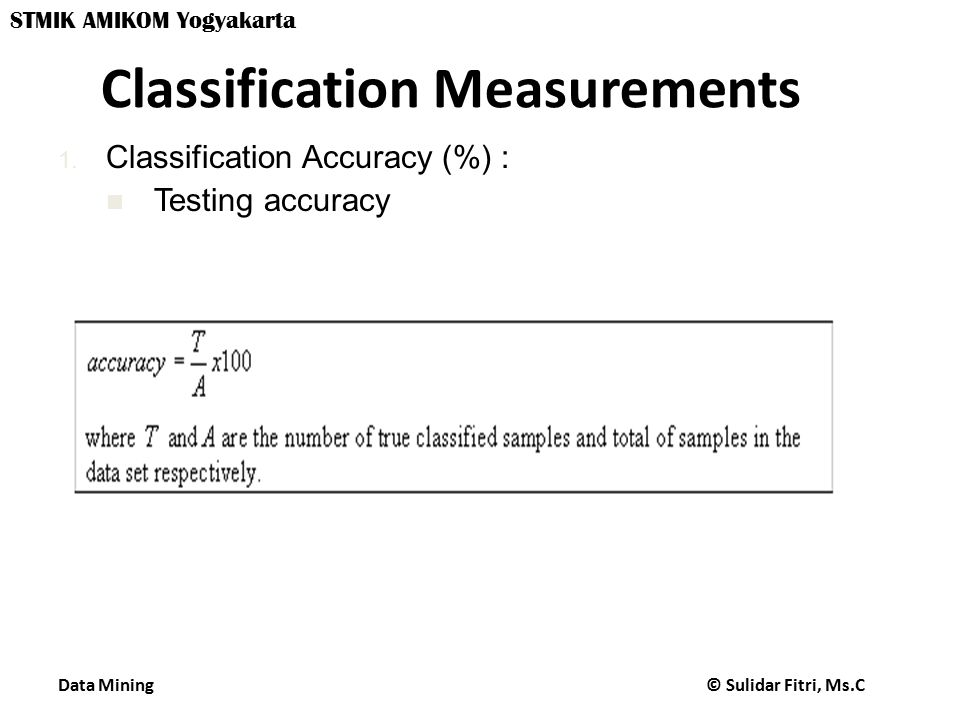 Classification Measurements