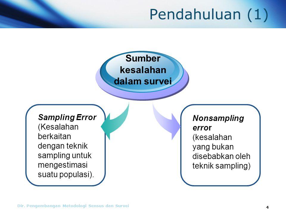 Pendahuluan (1) Sumber kesalahan dalam survei